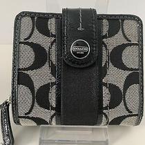 Coach Black Signature Small Ziparound Clutch Wallet Photo