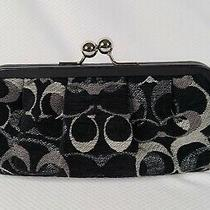 Coach Black Silver Chenille Pleated Kisslock Clutch Wristlet 3584 New Photo