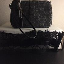 Coach Black & Silver Wristlet and Elegant Black Lace/velvet Face Mask Photo