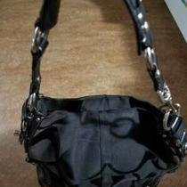 Coach Black Small Signature Carly Zoe Hobo Bag Purse Duffle Canvas Leather Trim Photo