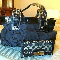 Coach Black Soho Pleated Signature Fabric Tote Purse Handbag Bonus F13743 Photo