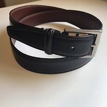 Coach Black Stitched Casual Men's Leather Belt Size 38 Silver Buckle 3752 Photo