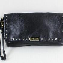 Coach Black Studded Trim Wristlet Small Bag Handbag Clutch Photo