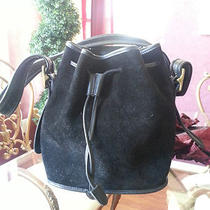 Coach Black Suede Drawstring Purse Antique Brass Hardware Photo