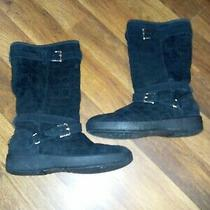 Coach Black Suede Logo Boots Thelma Size 10b Calf High Fur Lined Great for Winte Photo