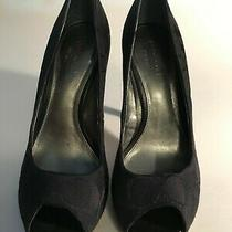 Coach Black Suede Pump With C Logo Size. 6.  Open Toe Photo