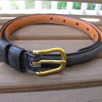 Coach Black Sz 28 Brass Buckle Burnished Cowhide Belt  Photo