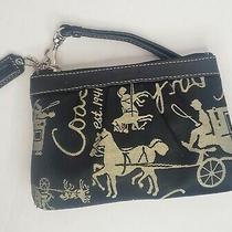 Coach Black Tan Canvas Leather 1941 Horse Carriage Wristlet Wallet Bag Euc Gift Photo