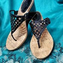 Coach Black Thong Wedge Sandals Size 7.5 Photo