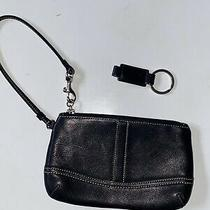Coach Black White Leather Clutch Wristlet Black Leather Strap Key Chain Photo