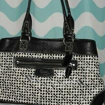 Coach Black & White Penelope Op Art Shoulder Bag Tote Purse W/storage Bag Ec Photo