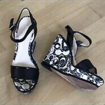 Coach Black & White Signature Logo Print Logo Heel Wedge Sandals Size 6 Photo