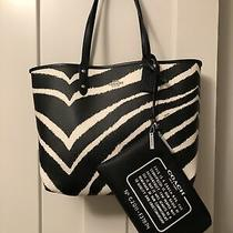 Coach Black & White Zebra Reversible Tote W/ Clutch Photo