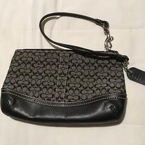 Coach Black Wristlet Leather and Fabric With Coach Logo Photo