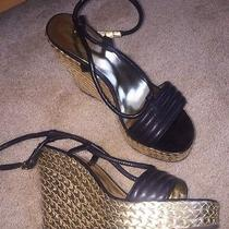 Coach Blanch Black Soft Nappa Leather Wedge Sandals Shoes Women's 9 Ln Worn 1x Photo