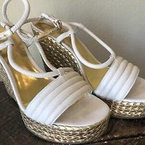 Coach Blanch Off-White Sandals Gold Basket Weave Wedge/platform Euc Sz 8 Photo