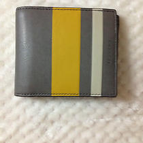 Coach Bleecker Debossed Painted Stripe Compact Id Men Wallet F74493 Photo