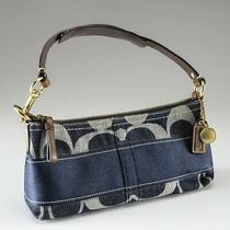 Coach Bleecker Denim Blue Brown Leather Baguette Hobo Boho Purse Charm 11177 New Photo