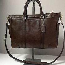 Coach Bleecker Leather Mahogany Metropolitan Briefcase Bag F71057 Msrp 598.00 Photo