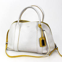 Coach Bleecker Preston Satchel in Edgepaint Leather Handbag 30165 White Photo