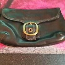 Coach Bleeker Black Leather Vintage Tattersall Clutch Wristlet 40887 Photo