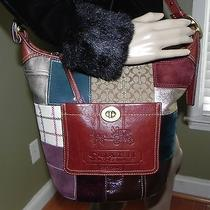 Coach Bleeker Patchwork Handbag Leather Fabric Satchel Tote Purse Carried Once Photo