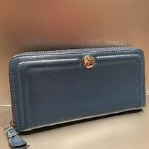 Coach Blue Accordian Zip Wallet in Smooth Leather Photo
