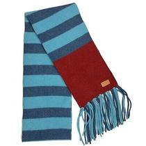 Coach Blue and Red Striped 100% Wool Fringe Scarf 115x9 Photo