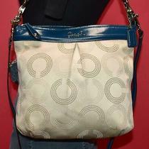 Coach Blue Beige Leather Sateen Ashley Op Art Hippy Crossbody Purse Bag 20088 Photo