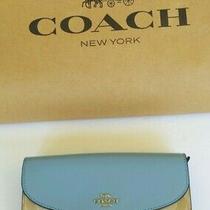Coach  Blue Coach Signature Slim Envelope Zip / Snap Wallet New Nwt Photo