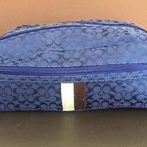 Coach  Blue Cosmetic Case  Makeup Storage Organizer Tote Bag Zipper Photo