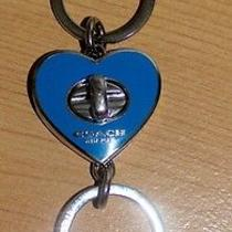 Coach Blue Enamel Heart Valet Key Fob Ring  60  Photo