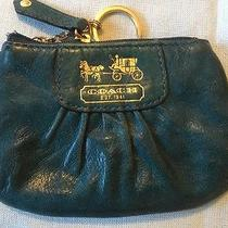Coach Blue Leather Change/coin Purse With Attach Key Ring   Turquoise Gc Photo
