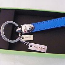 Coach Blue Leather Loop Key Ring  New in Coach Box 66054b Photo