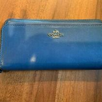 Coach Blue Leather Zip Around Clutch Wallet With Strap Photo