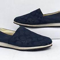 Coach Blue Monogram Signature C Blue Canvas Slip on Sneakers Size 10m Photo