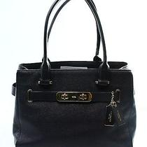 Coach Blue Navy Gold Pebble Leather Swagger Carryall Satchel Bag Purse 395-052 Photo
