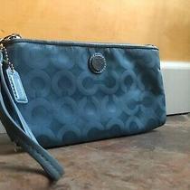 Coach Blue Nylon Logo Wristlet Wallet Clutch Rare Photo