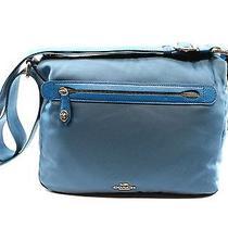 Coach Blue Peacock Women's Nylon Messenger & Crossbody Handbag Purse 225- Photo