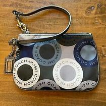 Coach Blue Silver Green White  Snaphead Sateen Circle Wristlet Photo