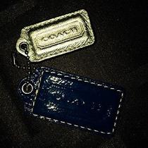 Coach Blue & Silver Leather Purse Key Chain Fob Ring Charm Hang Tag Photo