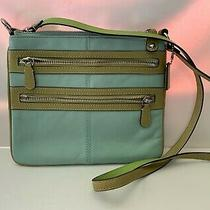 Coach Blue Soho Leather Green Strap Triple Zip Crossbody Messenger Shoulder Bag Photo