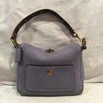 Coach Blue Suede Handbag With Gold Hardware Photo