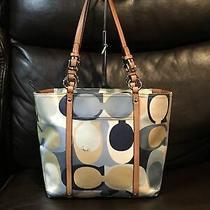 Coach Blue Tan Signature Shoulder Zip Tote Bag Handbag Purse F12874 Photo