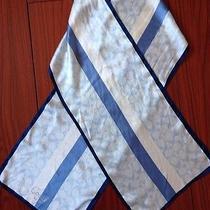 Coach Blue & White Logo Print Silk Hair Neck Scarf - Brand New Photo