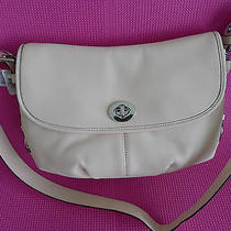 Coach Blush Leather Flap Duffle Handbag Shoulder Bag Tote Light Pink New Photo