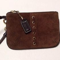 Coach Boho Suede Thick Stitch Leather Hippie Wristlet Wallet Pouch Clutch Purse Photo