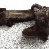 Coach Boots Karita Women Shoes Wedge Brown Suede Pom Pom Brown  Fur Rabbit 8.5 B Photo