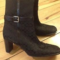 Coach Boots Sz 7 Bibi Ankle Canvas Leather Trim and Buckle Photo