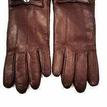 Coach Bow Leather Gloves Plum Color Size 7 F85929 Nwt Photo